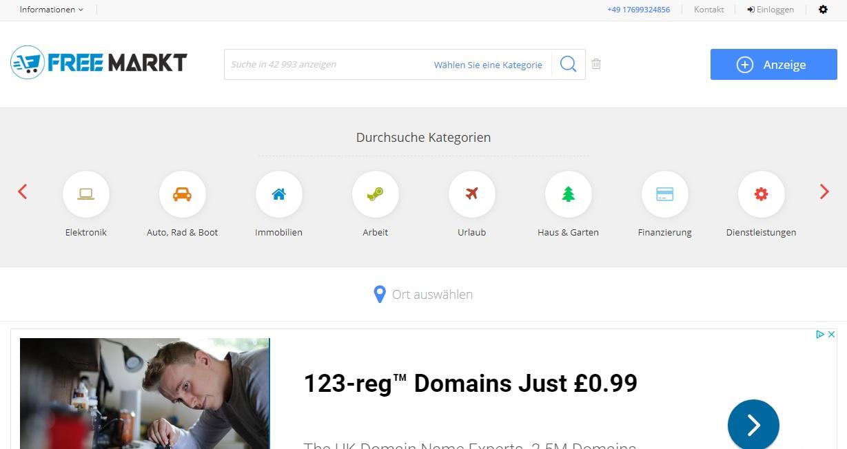 Free-markt.de - безплатни обяви Германия - изграждане на сайт за обяви
