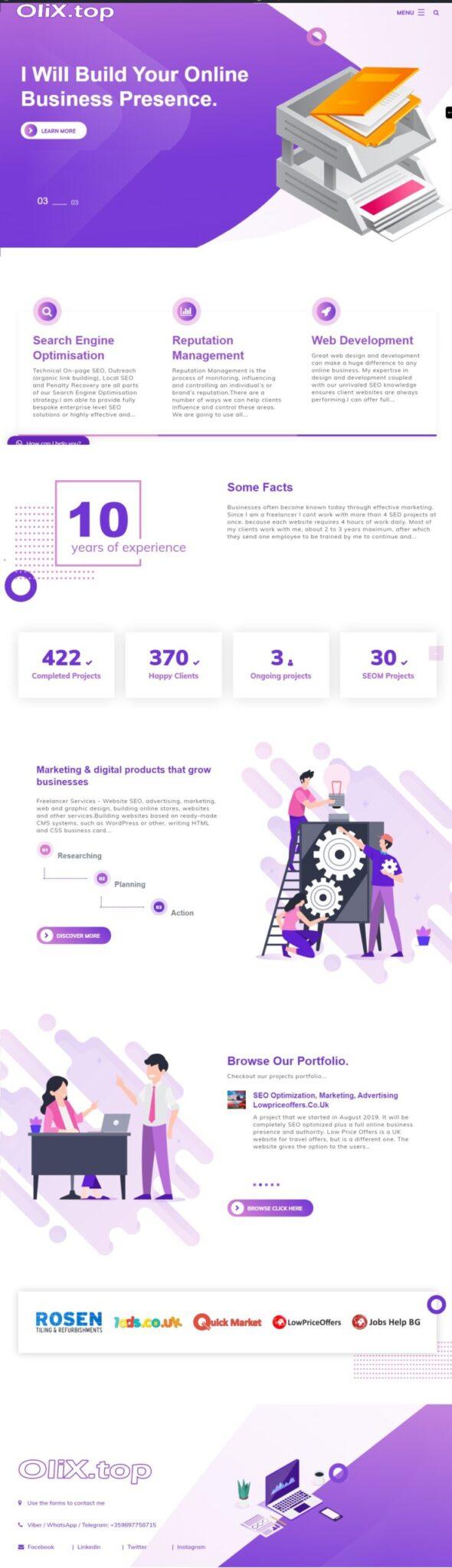 Изграждане на английски уебсайт за моята дейност с различно съдържание и визия - olix.top - Wordpress СЕО.БГ Wordpress СЕО оптимизация, реклама, изграждане на сайтове, маркетинг, изработка на сайтове, уеб дизайн, SEO, онлайн магазини и други